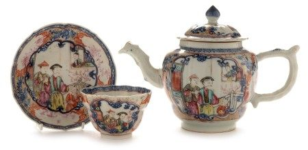 Chinese teapot and cover, tea bowl and saucer