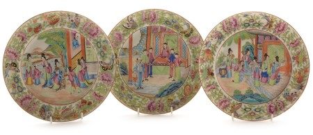 Three Cantonese famille rose plates