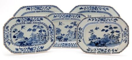 Five Qianlong export blue and white dishes