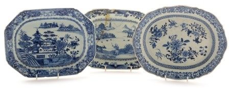 Three Chinese export ware serving dishes, Qianlong