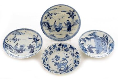 four Chinese export blue and white saucers