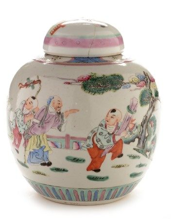 Chinese famille rose ginger jar and cover,