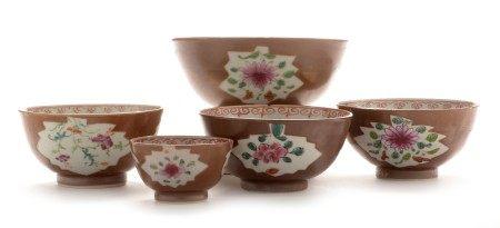 Five Chinese Batavian bowls