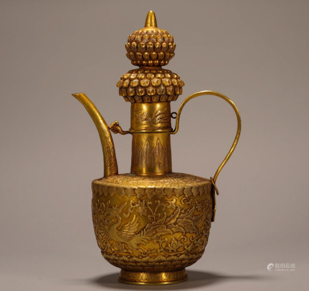 Chinese Qing Dynasty Silver Gilded Pot