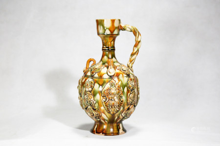 Chinese Tang Sancai Tricolor Porcelain Pot