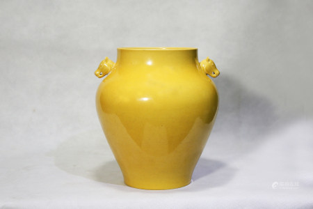 Chinese Qing Dynasty Guangxu Period Yellow Glazed Porcelain Vessel