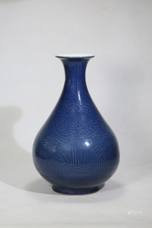 Chinese Ming Dynasty Xuande Engraved Porcelain Bottle