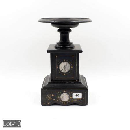 Ebony marble inlaid candle stand
