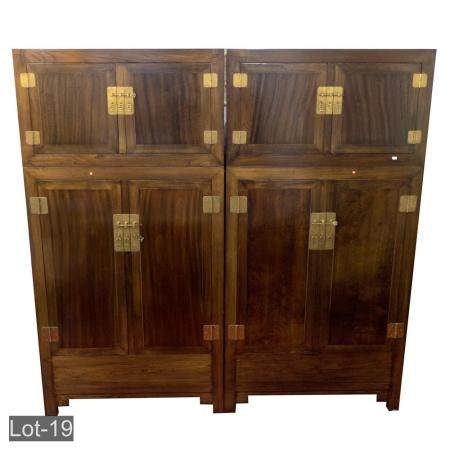 Qing dynasty style walnut linen chest