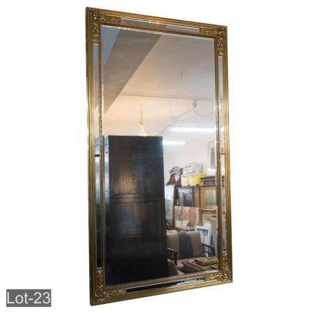 Large gilt art deco style bevelled hallway mirror