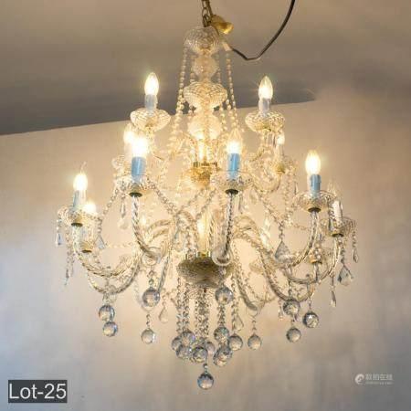 Large 15 branch crystal chandelier
