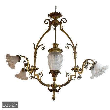 19th Century French bronze hanging lamp