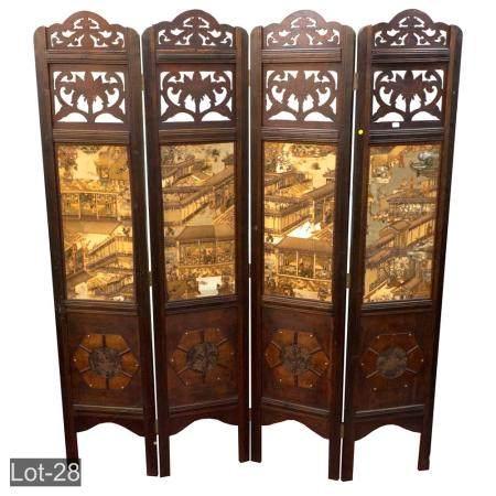 Oriental wooden screen