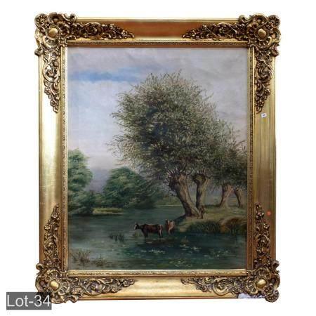 Antique gold framed oil on canvas