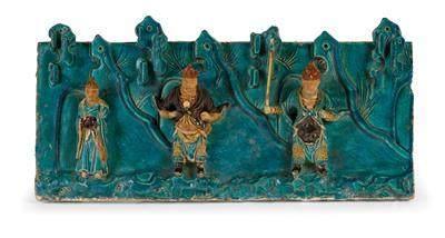 A 'Sancai' Glazed Ceramic Relief, China, Ming Dynasty