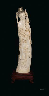 A Lady with Flowers, China, First Quarter of the 20th Century