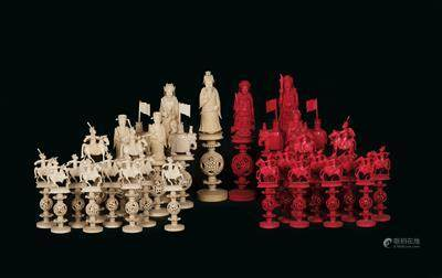 31 'Puzzle Ball' Chess Figures, Canton, China, Late 19th Century