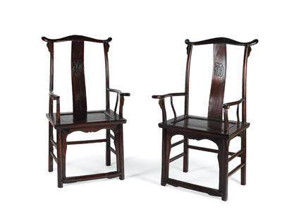 A Pair of Armchairs, China, 18th 19th Century