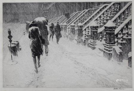 """Martin Lewis (1881 - 1962) """"Stoops in the Snow"""""""