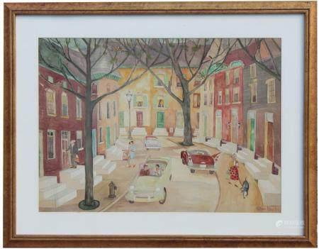 "Palmer Hayden (NY, 1890 - 1973) ""Baltimore Street"" Watercolo"