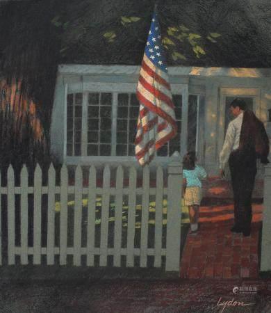 """Tom Lydon (B. 1944) """"Flag over Porch"""""""