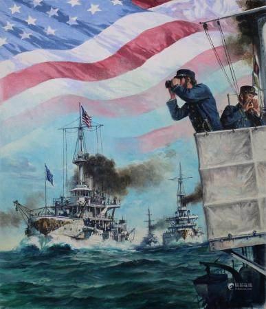 Dennis Lyall (B. 1946) Great White Fleet Sails
