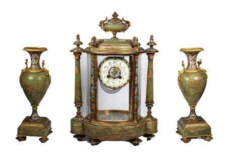 Important Tiffany & Co. Champleve 3 Pc Clock Set