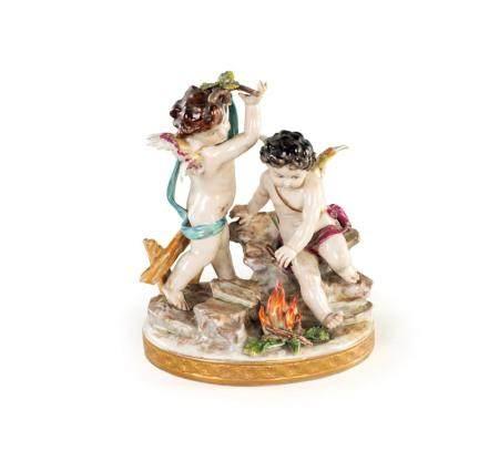 Group in polychrome porcelain, Naples Capodimonte manufactur