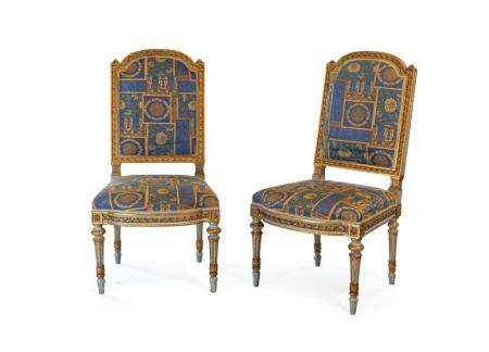 Pair of blue lacquered wooden chairs, 19th century