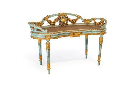 Bench in green lacquered wood, late 19th century