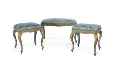 Pair of stools plus a third analogue, 19th century