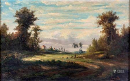 Pittore del XIX secolo Dutch landscape with shepherd