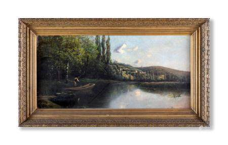 Pittore francese del XIX secolo River landscape with boat