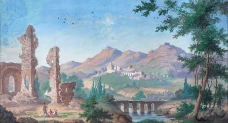 Pittore del XIX secolo River landscape with ruins
