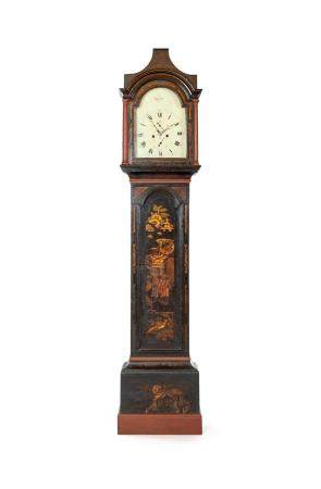 Tower clock in lacquered wood, England late 18th century