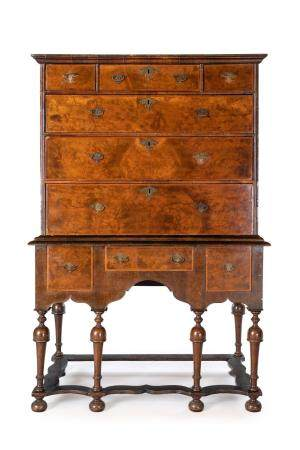 Two-piece cabinet with briar drawers