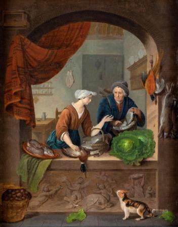 Pittore Fiammingo del XIX secolo Kitchen interior