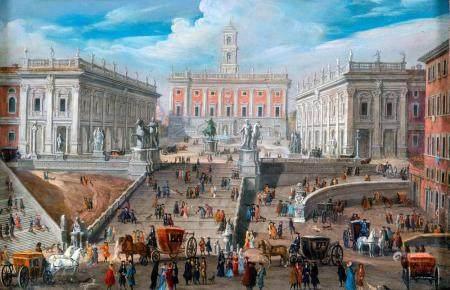 Scuola romana XIX secolo View of the Campidoglio square