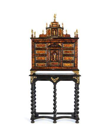 Ebonized wood cabinet with tortoiseshell inserts, Sicily, 18