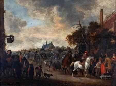 Hendrick De Meyer I Landscape with Figures and Horsemen