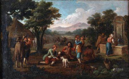 Michelangelo Cerquozzi a) Genre scene with settlers and wayf