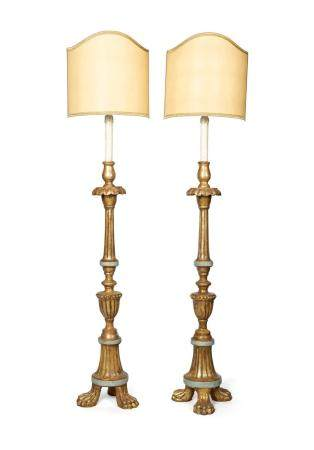 Pair of gilt wood torches, 19th century