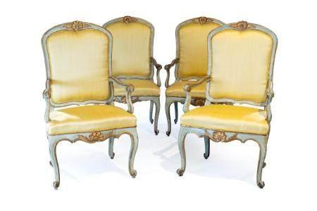 Four Louis XV period armchairs, Rome 18th century