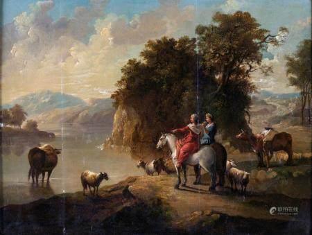Francesco Zuccarelli ( cerchia ) a) Bucolic landscape with f
