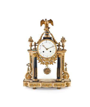 French white marble mantel clock, 19th century