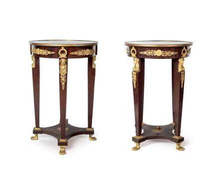 Pair of Empire period mahogany guéridons