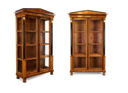 Pair of Empire style display cabinets