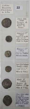 Lot de 6 liards, douzains et quinzain de Louis XII à Louis XIV. Expert : Monsieur [...]