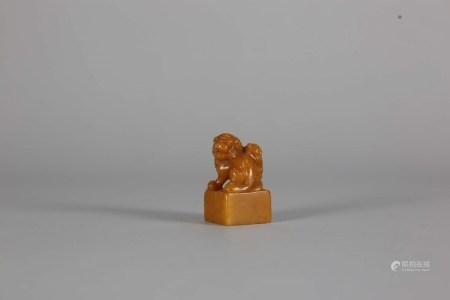 黃芙蓉壽山雙獅印
