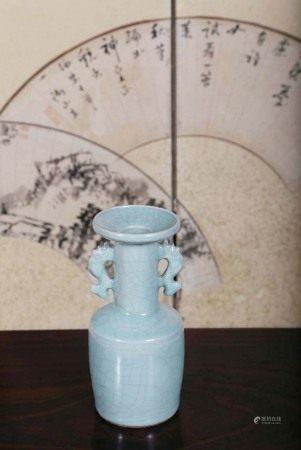 宋  青瓷双鱼耳盘口瓶